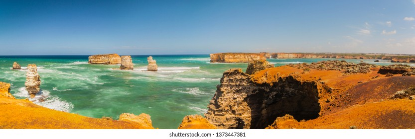 Panoramic view of Bay of Islands Coastal Park is along coastal reserve located in Victoria, Australia on the Great Ocean Road between Peterborough and Warrnambool.