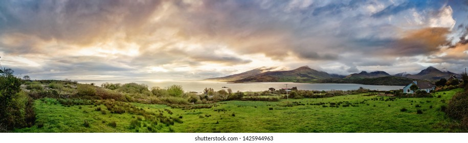 Panoramic view of bay near the ocean in Cloghane. County Kerry, Ireland.
