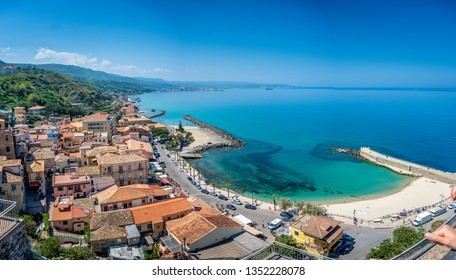 Panoramic view at the bay and port in Pizzo, Calabria, Italy