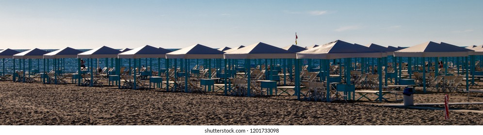 Panoramic View of Beach Cabins in the Resort Town of Viareggio, Italy