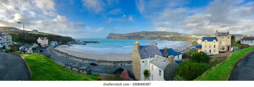 Panoramic view of of the beach, cove and harbour of Port Erin Isle of Man on the British Isles