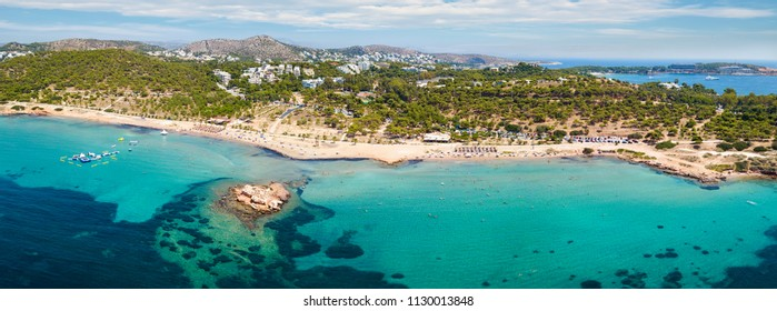 Panoramic view of the Beach of Kavouri at the district of Vouliagmeni, south Athens, Greece