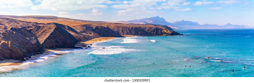 Panoramic view of the beach of La Pared, Fuerteventura, Spain