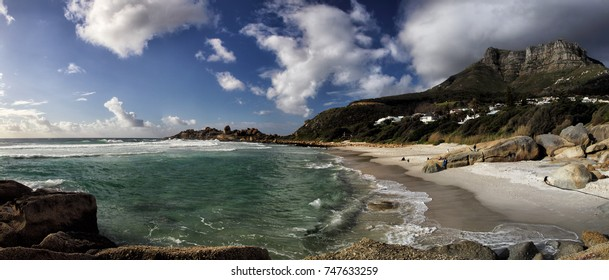 Panoramic view of the beach of Llandudno, a suburb of Cape Town, South Africa.