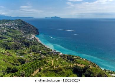 Panoramic view of the beach of Maronti. Ischia. Italy