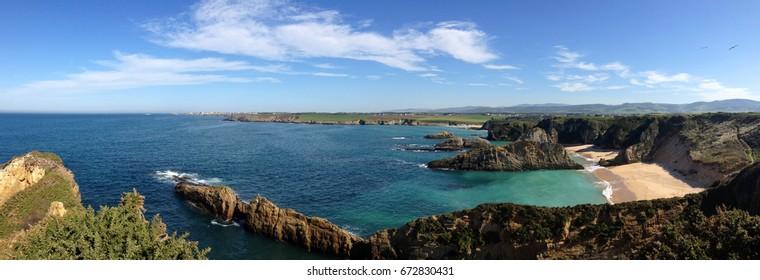 Panoramic view of the beach of Mexota in Tapia de Casariego, Asturias - Spain