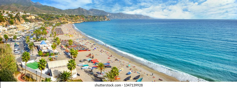 Panoramic view  of beach in Nerja. Malaga province, Costa del Sol, Andalusia, Spain