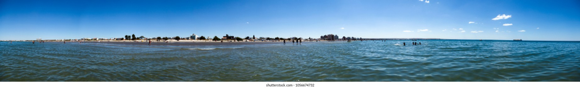 Panoramic view of the beach of Puerto Madryn, Patagonia, Argentina.