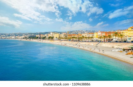 Panoramic view of beach and seafront in Nice. Cote D'Azur, France