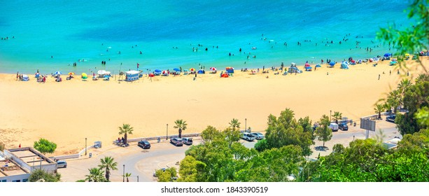 Panoramic view of beach and seafront in resort  town Sidi Bou Said. Tunisia, North Africa