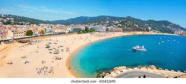 Panoramic view of beach at Tossa de Mar. Costa Brava, Catalonia, Spain