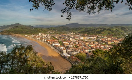 Panoramic view of the beach of Zarauz, Basque Country, Spain, Europe