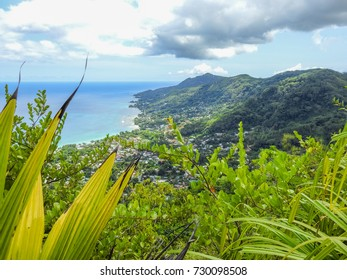 Panoramic view of Beau Vallon coast from Dans Gallas trail. Seychelles jungle. Mahe island. Africa