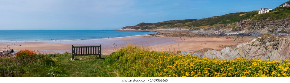 A panoramic view of the beautiful Barricane Beach in Woolacombe in North Devon, UK.