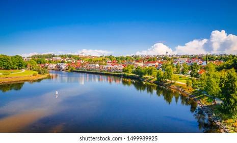 Panoramic view of beautiful city Trondheim, Norway