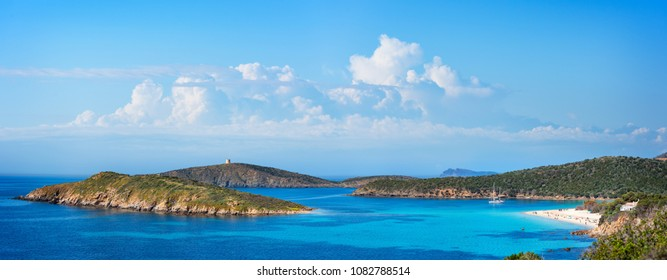 Panoramic view of the beautiful coast of Teulada in Sardinia with the little Island of Tuerredda. Turquoise sea in the coast of Sardinia.