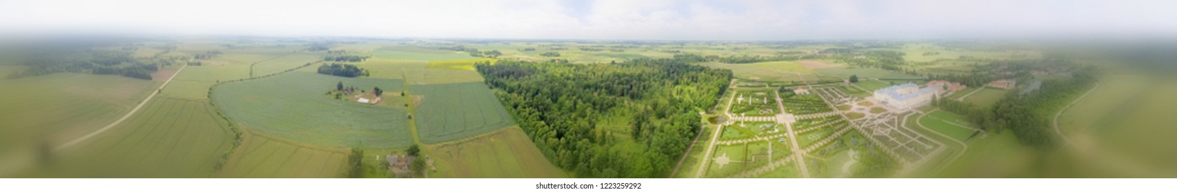Panoramic view of beautiful countryside around Rundale at sunset, Latvia.