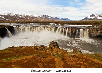 panoramic view of beautiful godafoss from eastern bank iceland
