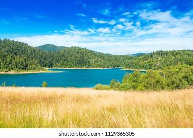 Panoramic view of beautiful Lokvarsko lake in colorful mountain landscape, Lokve, Gorski kotar, Croatia
