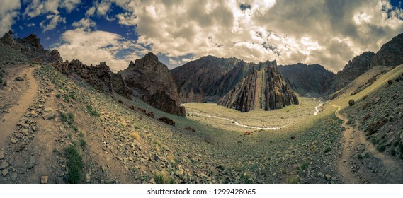 Panoramic view of beautiful Markha Valley in India in old Buddhist kingdom of Ladakh.