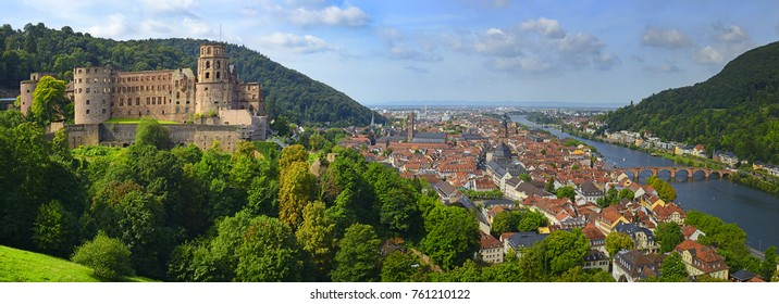 Panoramic view of beautiful medieval town Heidelberg, heidelberg castle, Carl Theodor Old Bridge and river Neckar, Germany