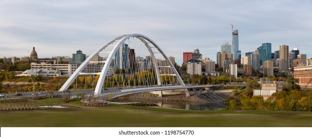 Panoramic view of the beautiful modern city during a sunny day. Taken in Edmonton, Alberta, Canada.