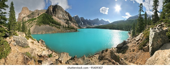 Panoramic view of Beautiful Moraine Lake, Near lake Louise, in Banff National Park, Alberta, Canada