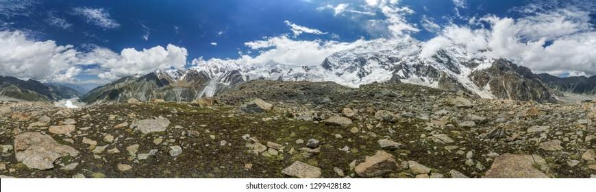 Panoramic view of beautiful Nanga Parbat mountain in Himalayas in Pakistan.