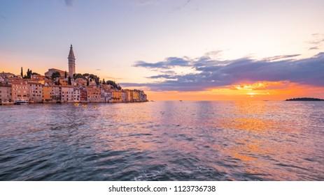Panoramic view of beautiful ocean sunset in Rovinj, Croatia, Europe
