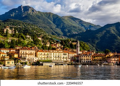 Panoramic view of the beautiful old Italian town of Bellagio, Lake Como Italy. European travel, vacation, and life style concept