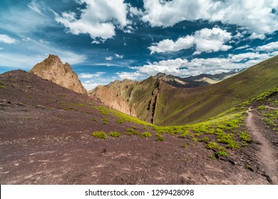 Panoramic view of beautiful scenery in Markha Valley in India in old Buddhist kingdom of Ladakh.
