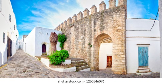 Panoramic view of the beautiful streets of Vejer de la Frontera, one of the most visited white villages by tourists from the province of Cadiz, in Andalusia, southern Spain