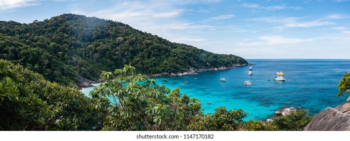Panoramic view of the beautiful tropical beac and jungle of the Similan Islands in Thailand