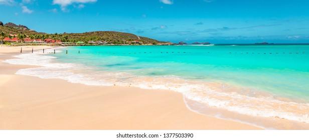Panoramic view of beautiful white sandy beach in St Barts ( Saint Barthelemy).