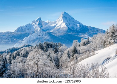 Panoramic view of beautiful winter landscape in the Bavarian Alps with famous Watzmann massif, Nationalpark Berchtesgadener Land, Bavaria, Germany
