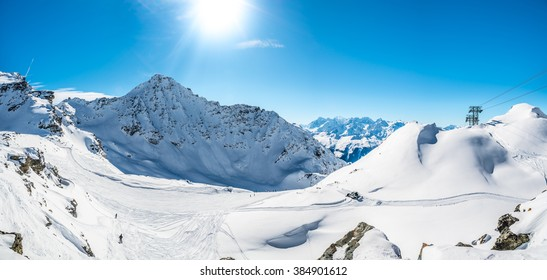 Panoramic view of beautiful winter landscape in the  Alps