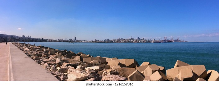 panoramic view of Beirut skyline in a distance shot from zalka corniche