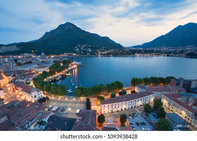Panoramic view from the bell tower, Lecco province, Lombardy, North italy, Italy