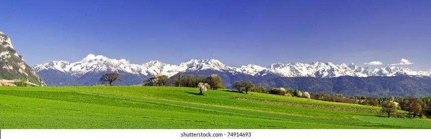 Panoramic view of Belledone massif near Chambery