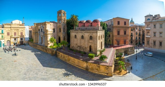 Panoramic view of Bellini Square, Santa Maria dell'Ammiraglio Church known as Martorana Church, San Cataldo church in the center of Palermo visited by many tourists