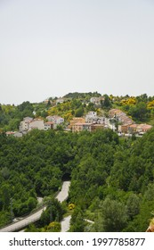 Panoramic view of Belmonte del Sannio, a village in the mountains of the Molise region in Italy.