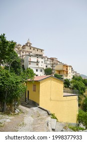 Panoramic view of Belmonte del Sannio, a mountain village in the Molise region of Italy.