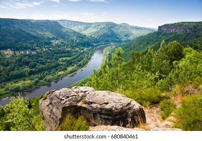 Panoramic view from the Belvedere over the Elbe valley, Elbe Sandstone Mountains, Bohemian Switzerland National Park, Czech republic, Europe