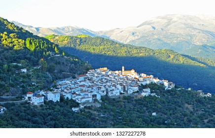 Panoramic view of Benalauria, a picturesque village in the Málaga province, Andalusia, Spain