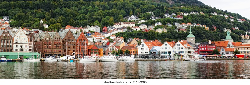 Panoramic view of Bergen harbor, Norway