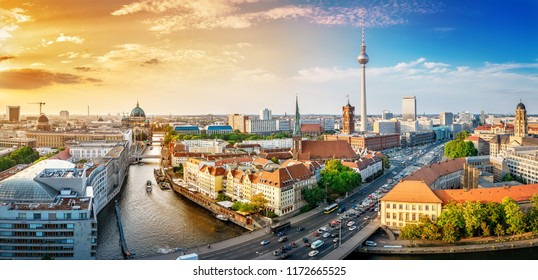 panoramic view at the berlin city center at sunset