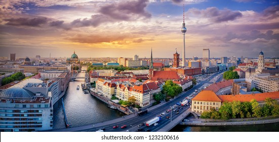 panoramic view at berlin while sunset