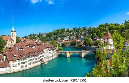 Panoramic view of Bern in a beautiful summer day, Switzerland