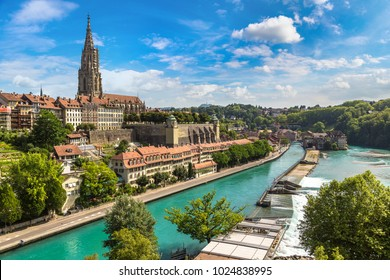 Panoramic view of Bern and Berner Munster cathedral in Switzerland
