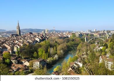 Panoramic view of Bern in sunny day during spring season. Bern, Switzerland